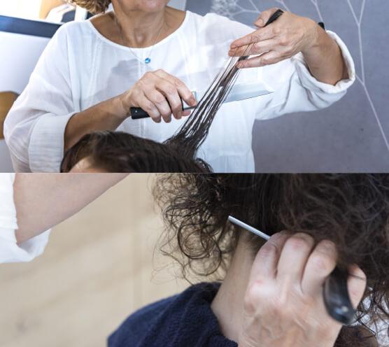 Massage, coupe, lissage des cheveux